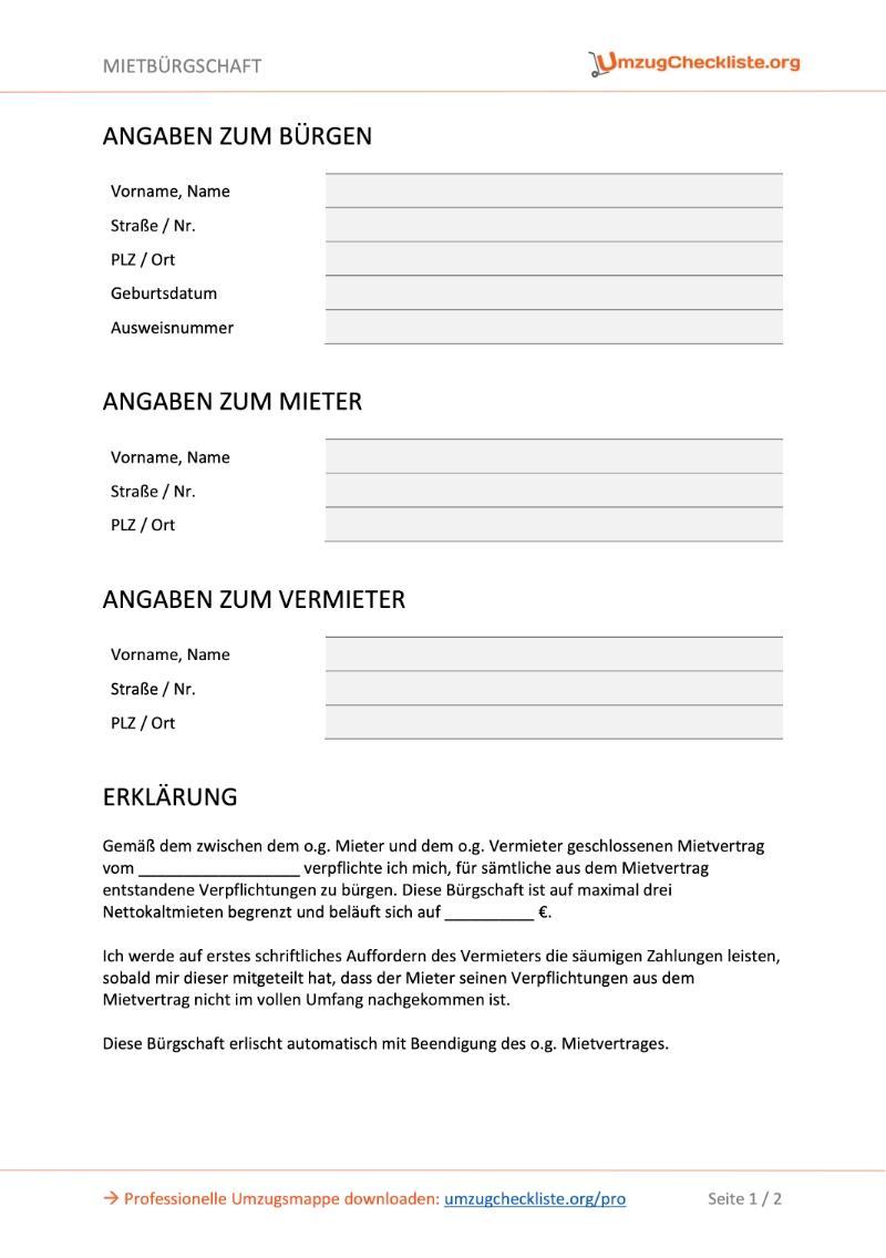 Mietbürgschaft Vorlage als PDF