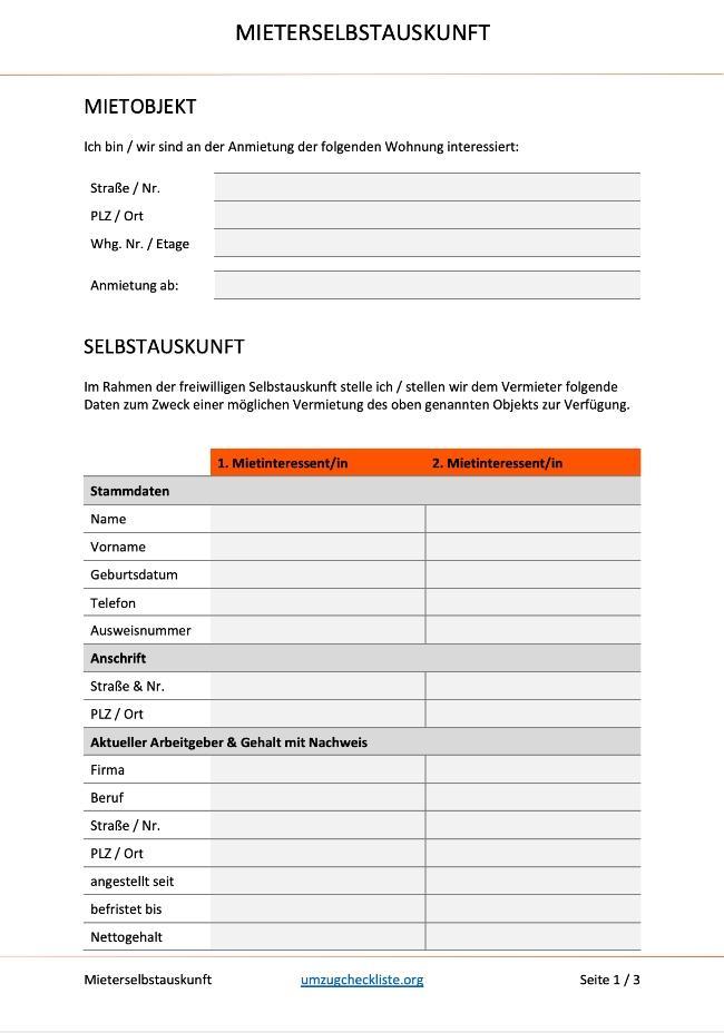 Mietschuldenfreiheitsbescheinigung: Formular als Word-Dokument