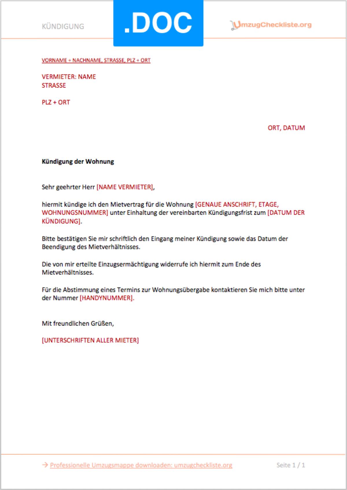 Kundigung Vorlage Arbeitsvertrag Schweiz 5