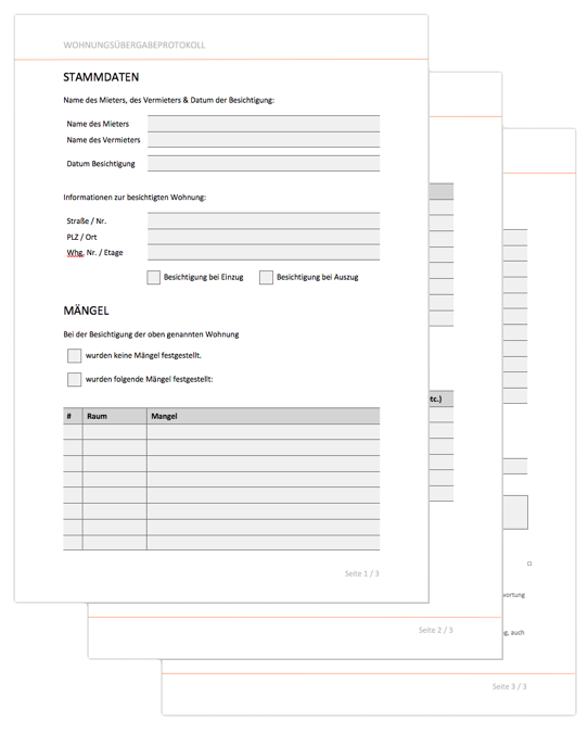 wohnungsbergabeprotokoll als word dokument - Wohnungsubergabeprotokoll Muster